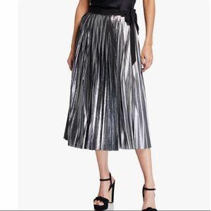 Project Runway Metallic Pleated Midi Skirt